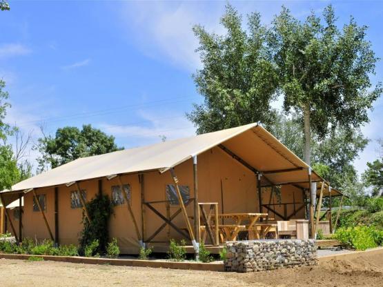 Tente Woody PREMIUM +38m² - 2 Zimmer + gedeckte Terrasse ...